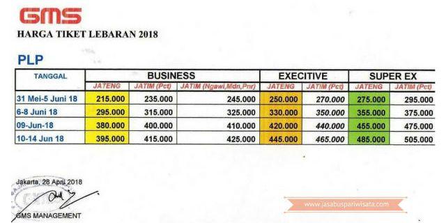 Harga Tiket Lebaran Bus GMS Tahun 2018 - Harga Mudik