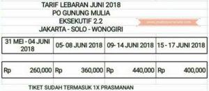 Harga Tiket Lebaran Bus Gunung Mulia 2018 - Eksekutif Class