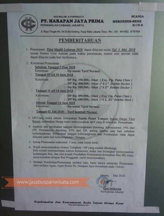 Harga Tiket Lebaran Bus Harapan Jaya 2018 - Bus Executive