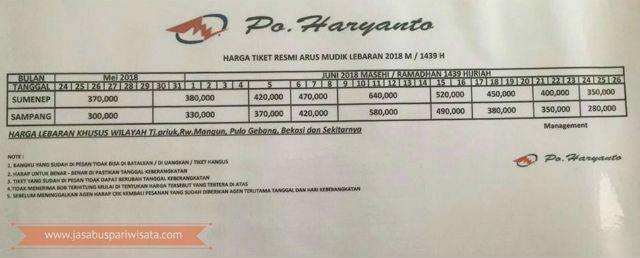Harga Tiket Lebaran Bus Haryanto Tahun 2018 - Madura