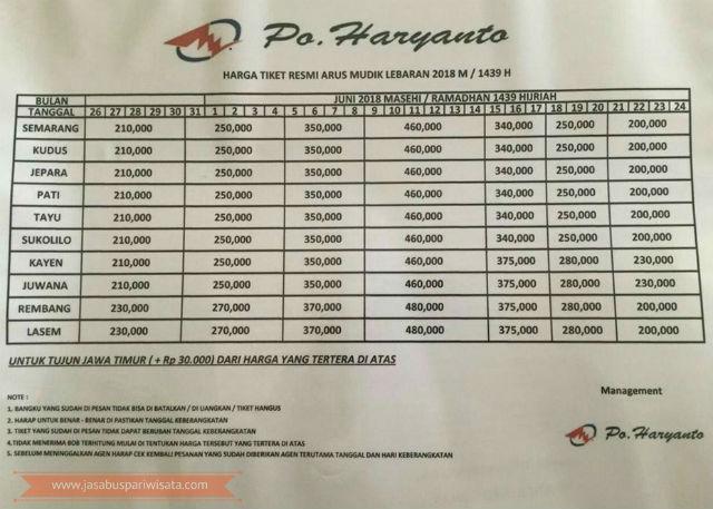 Harga Tiket Lebaran Bus Haryanto Tahun 2018 - Muriaan