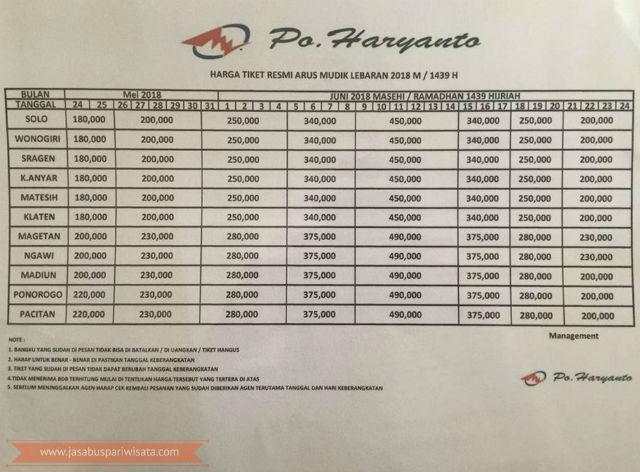 Harga Tiket Lebaran Bus Haryanto Tahun 2018 - Wonogiri