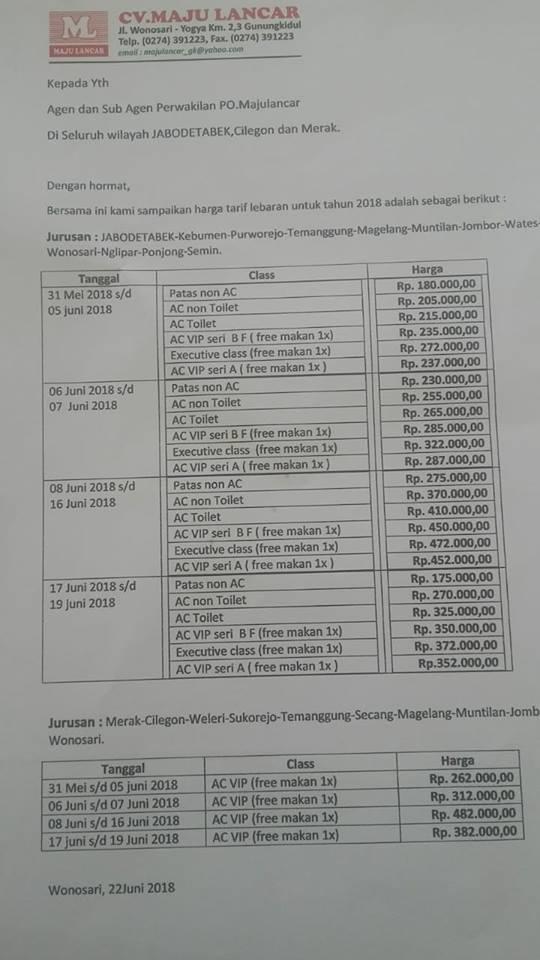 Harga Tiket Lebaran Bus Maju Lancar 2018 - Tarif Harga