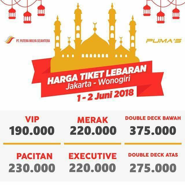Harga Tiket Lebaran Bus Putera Mulya 2018 - Wonogiri 01-02 Juni