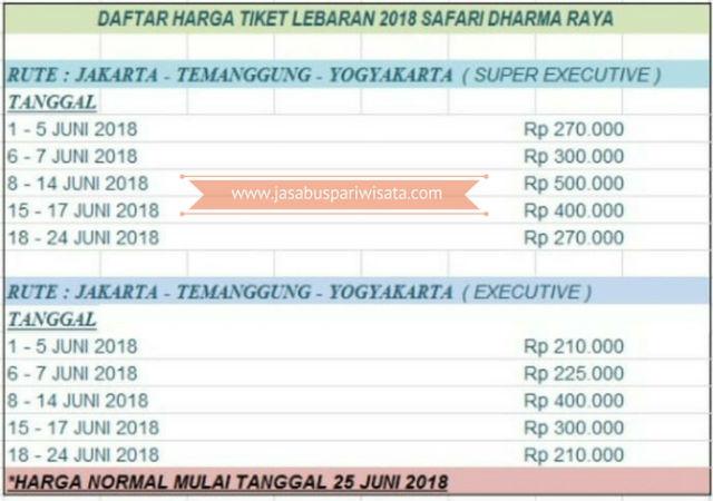 Harga Tiket Lebaran Bus Safari Dharma Raya - Daftar Harga