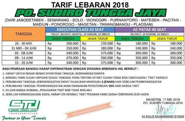 Harga Tiket Lebaran Bus Sudiro Tungga Jaya - Daftar Harga