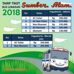 Harga Tiket Lebaran Bus Sumber Alam 2018 - Daftar Harga