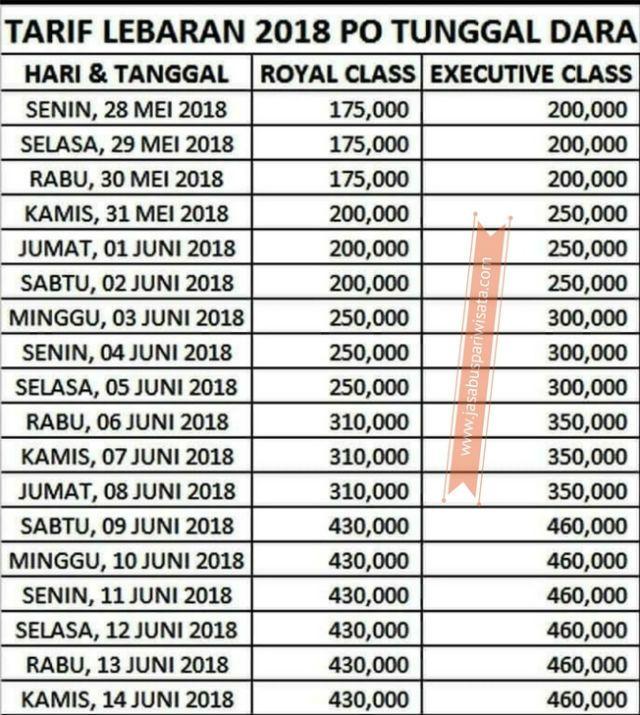 Harga Tiket Lebaran Bus Tunggal Dara 2018 - Daftar Harga