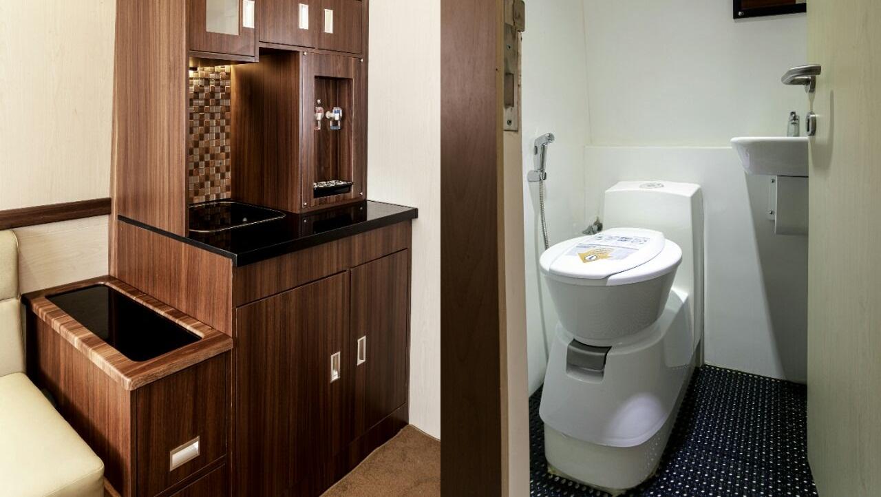 Kitchen Set dan Toilet - Ini 5 Fasilitas yang Tersedia di Bus Termewah di Indonesia