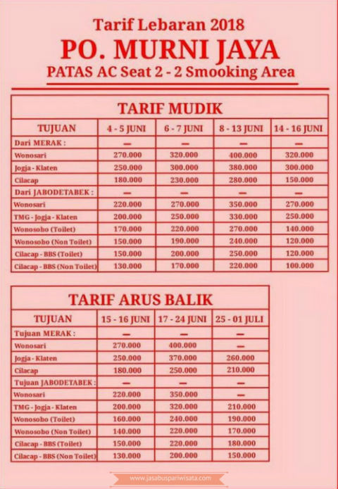 Harga Tiket Lebaran Bus Murni Jaya 2018 - Tarif
